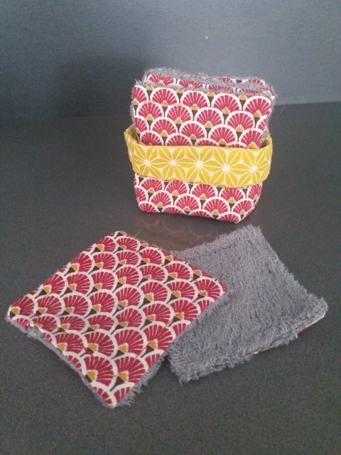 Lingettes lavables zéro déchets & Panière