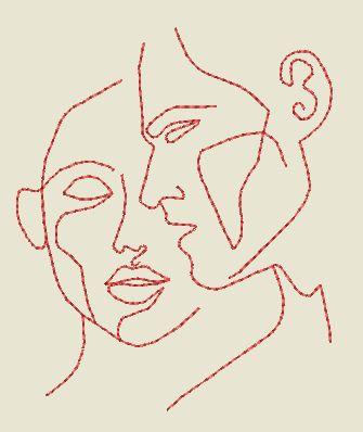Redwork Silhouette visages