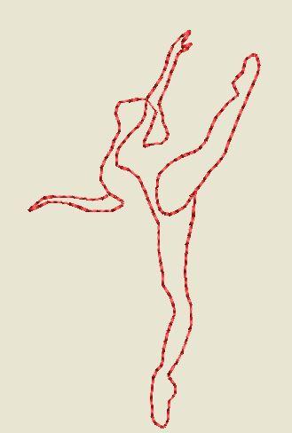 Motif broderie silhouette Danseuse redwork