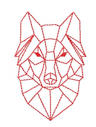 Motif broderie Polygone Loup