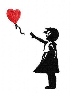 Motif broderie fillette coeur Banksy