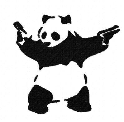 Motif broderie panda armé Banksy