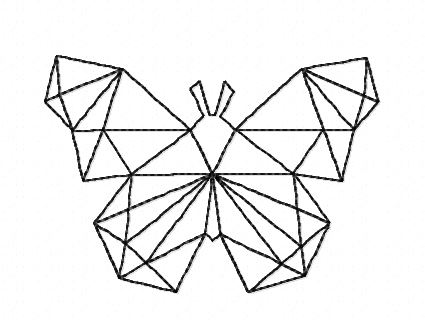 Motif broderie papillon polygone redwork