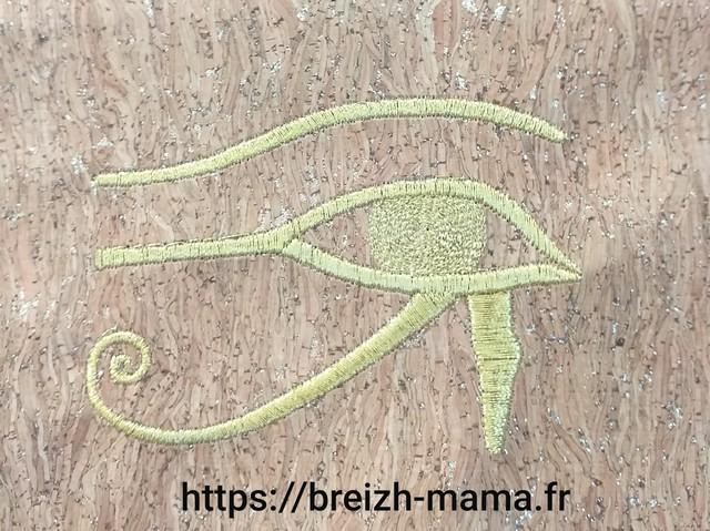 Broderie Oeil egyptien au fil doré 3