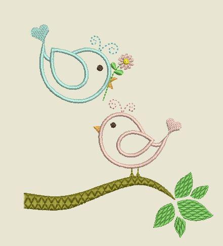 Motif broderie Appliqué oiseaux