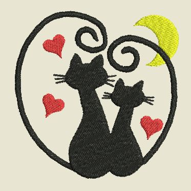Broderie Chat st-Valentin