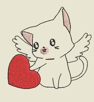 broderie chat st valentin gratuit