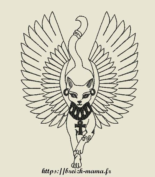 Motif broderie chat Anubis