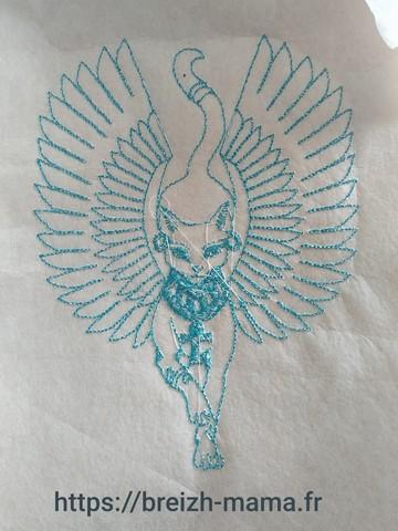 Motif broderie chat Anubis 1