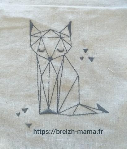 Motif broderie renard origamie redworkMotif broderie renard origamie redwork