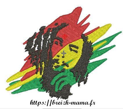 Motif broderie Bob Marley