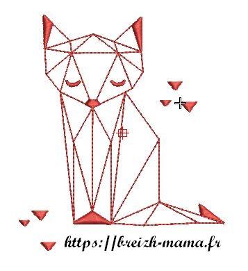 Motif broderie renard origamie redwork