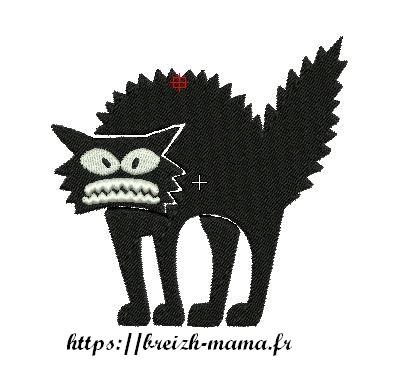 Motif broderie chat ebourrifé