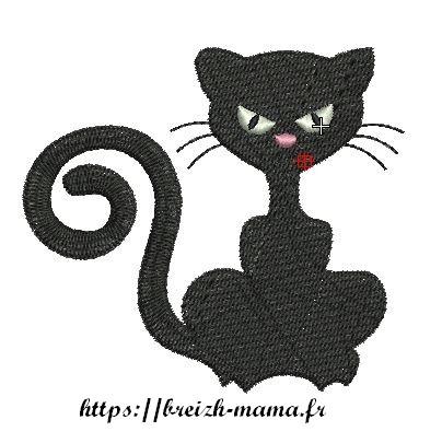 Motif broderie chaton grognon