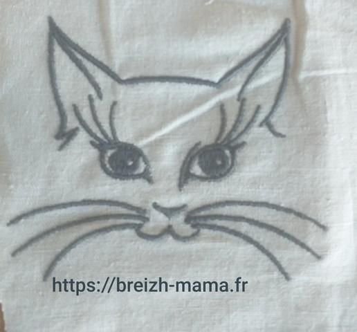 Motif broderie tete de chat