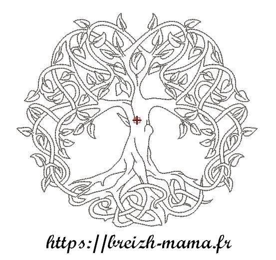 Motif broderie arbre de vie Redwork