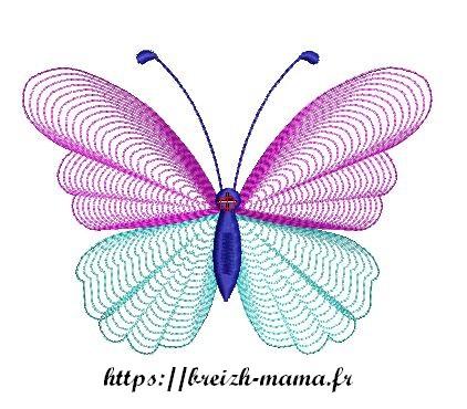 Motif broderie papillon spirales
