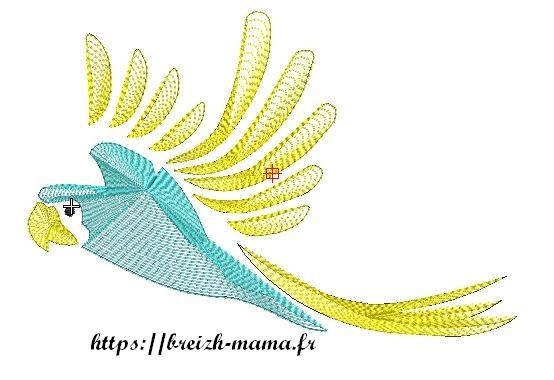 Motif broderie perroquet bleu