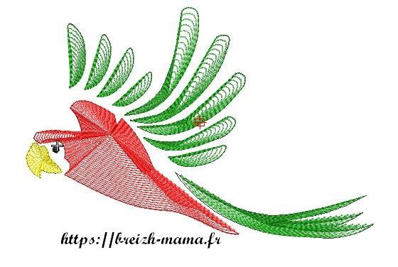 Motif broderie perroquet rouge