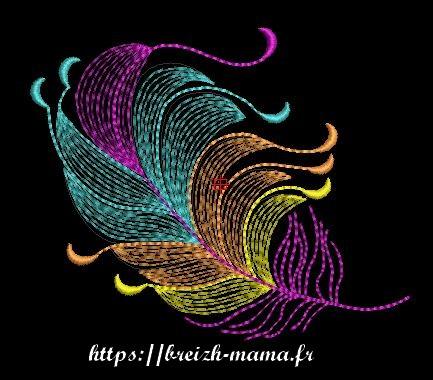 Motif broderie plume multicolore