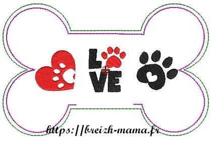 Motif broderie ITH Os pour chien, motif 2