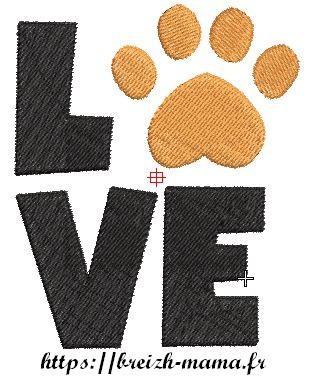 Motif broderie Love Dog 1
