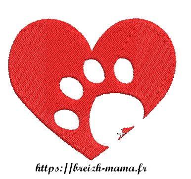 Motif broderie Love Dog 2