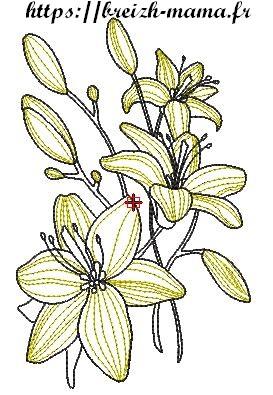 Motif broderie Bouquet de Fleur de Lys