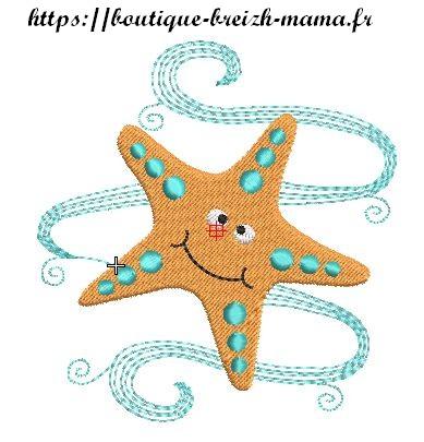 Motif broderie étoile de mer