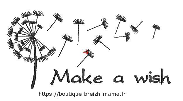Motif broderie Make a wish Pissenlit Redwork