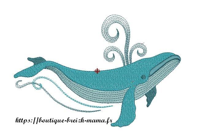 Motif broderie baleine bleue