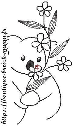 Motif broderie koala redwork