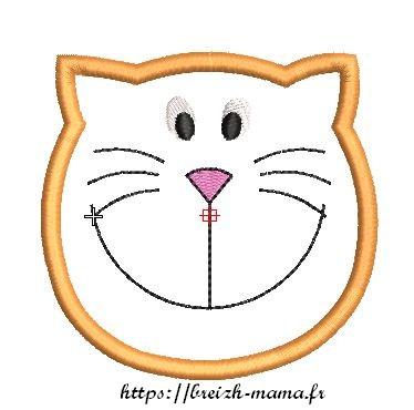 Motif broderie Appliqué chat