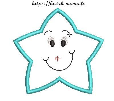 Motif broderie appliqué étoile