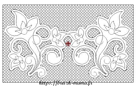 ITH blague à tabac motif floral et arabesques