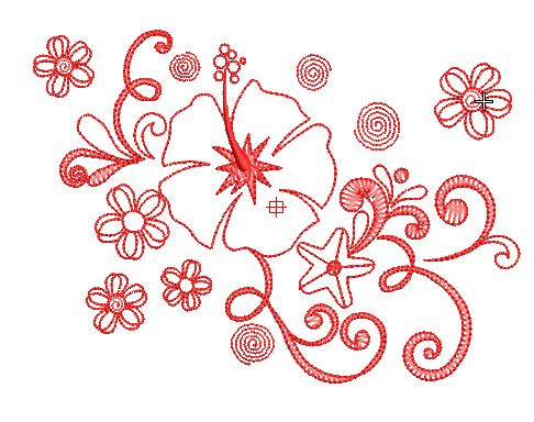 Motif broderie hibiscus