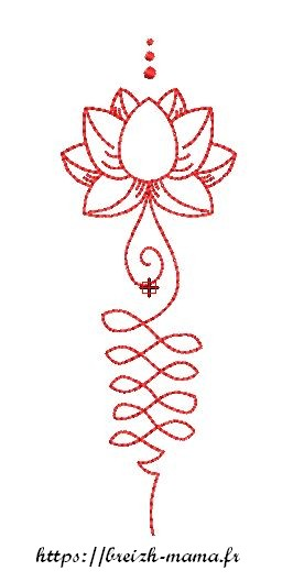 Motif broderie lotus redwork 3