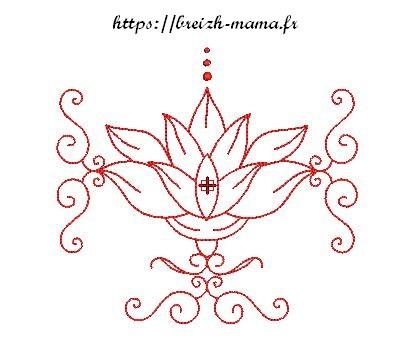 Motif broderie lotus redwork