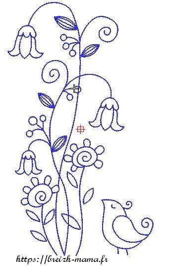 Motif broderie petit oiseau