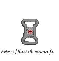 Motif broderie bobine de fil appliqué