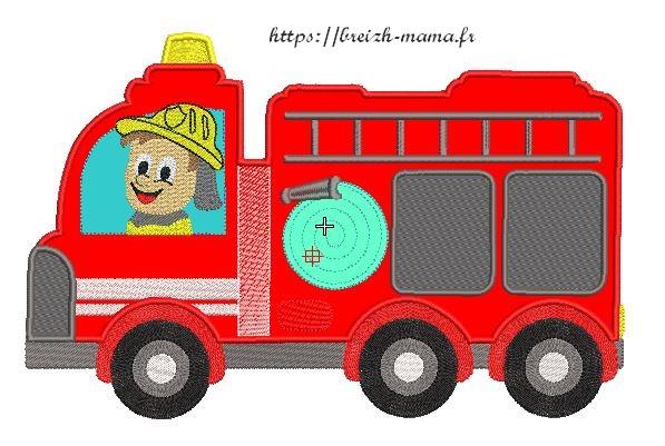 Motif broderie camion de pompier