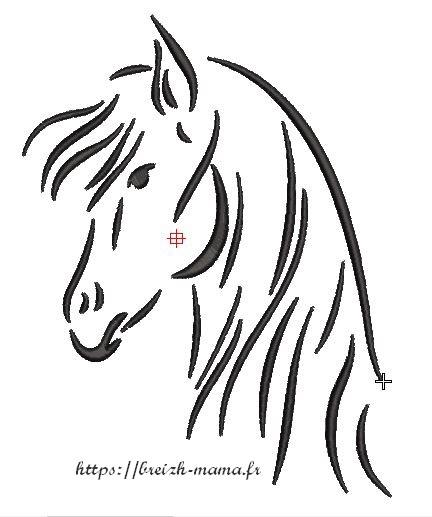 Motif broderie cheval satin