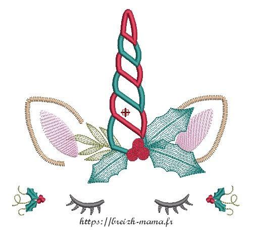 Motif broderie Licorne de Noël