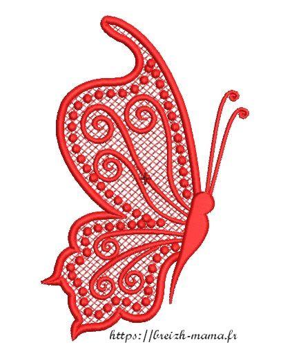 Motif broderie demi papillon FSL