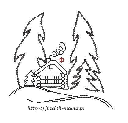 Motif broderie paysage hivernal