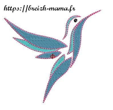 Motif broderie Colibri bleu