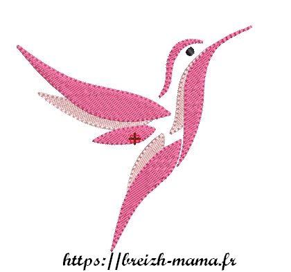 Motif broderie Colibri rose