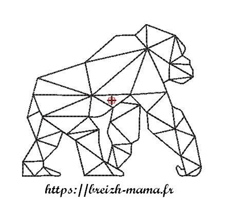 Motif broderie gorille polygone