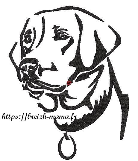 Motif broderie chien labrador monochrome