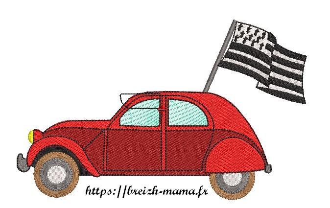 Motif broderie deudeuche drapeau breton